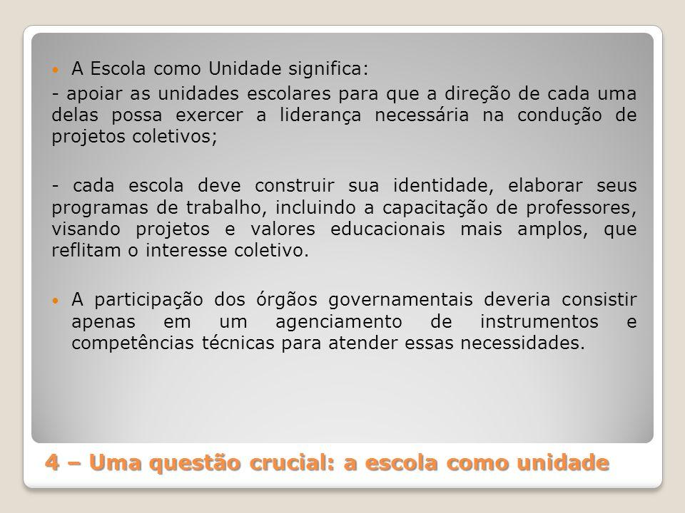 4 – Uma questão crucial: a escola como unidade A Escola como Unidade significa: - apoiar as unidades escolares para que a direção de cada uma delas po