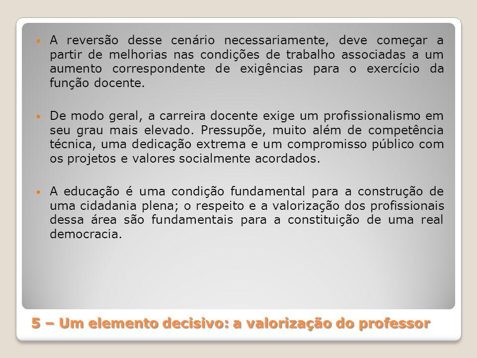 5 – Um elemento decisivo: a valorização do professor A reversão desse cenário necessariamente, deve começar a partir de melhorias nas condições de tra