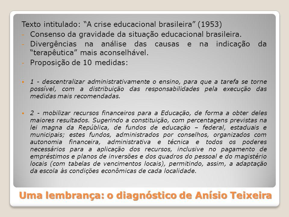 """Uma lembrança: o diagnóstico de Anísio Teixeira Texto intitulado: """"A crise educacional brasileira"""" (1953) - Consenso da gravidade da situação educacio"""