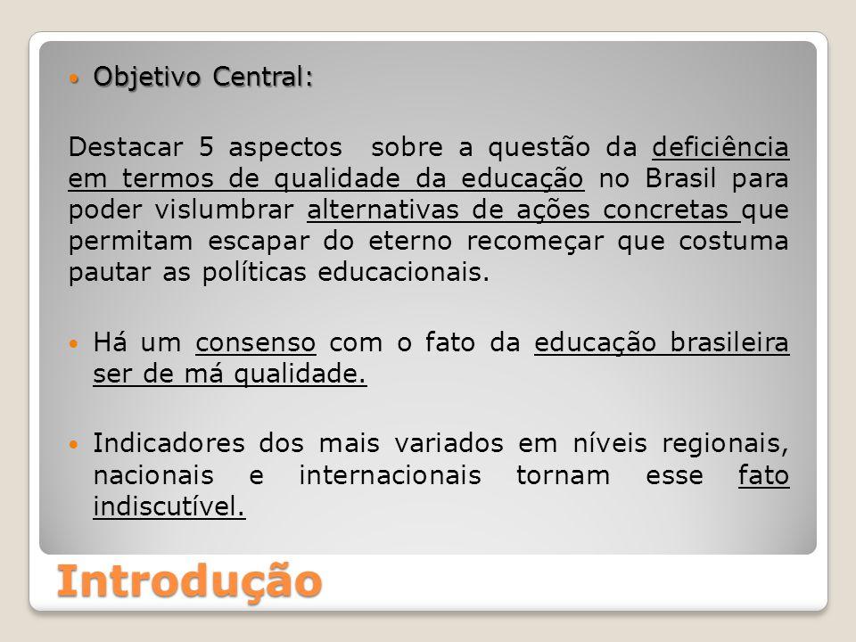 Objetivo Central: Objetivo Central: Destacar 5 aspectos sobre a questão da deficiência em termos de qualidade da educação no Brasil para poder vislumb