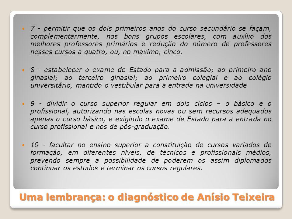 Uma lembrança: o diagnóstico de Anísio Teixeira 7 - permitir que os dois primeiros anos do curso secundário se façam, complementarmente, nos bons grup