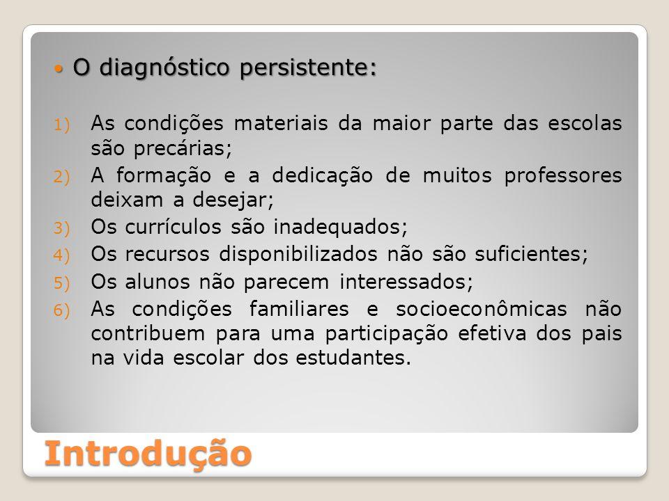 Introdução O diagnóstico persistente: O diagnóstico persistente: 1) As condições materiais da maior parte das escolas são precárias; 2) A formação e a