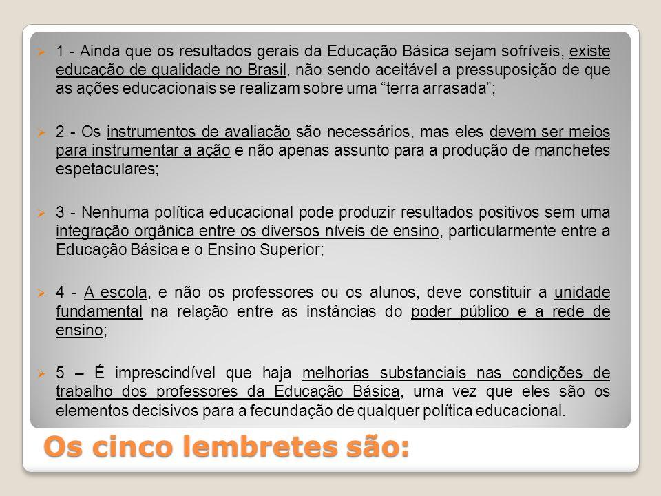 Os cinco lembretes são:  1 - Ainda que os resultados gerais da Educação Básica sejam sofríveis, existe educação de qualidade no Brasil, não sendo ace