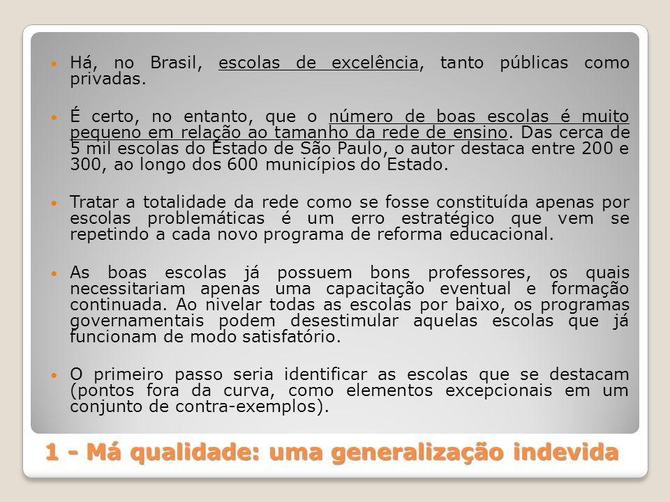 1 - Má qualidade: uma generalização indevida Há, no Brasil, escolas de excelência, tanto públicas como privadas. É certo, no entanto, que o número de