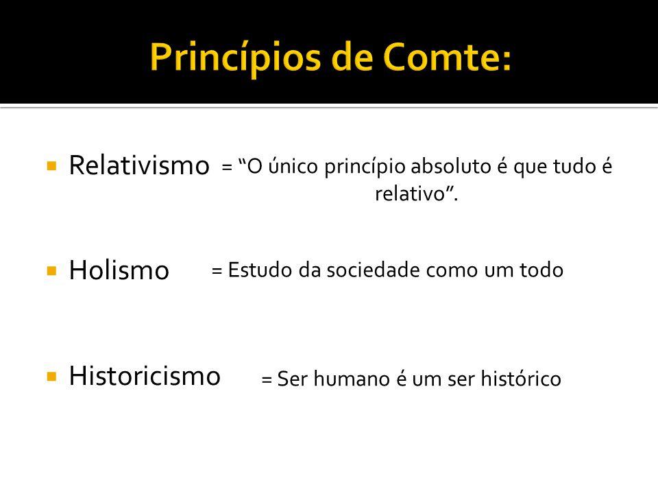 """ Relativismo  Holismo  Historicismo = """"O único princípio absoluto é que tudo é relativo"""". = Estudo da sociedade como um todo = Ser humano é um ser"""