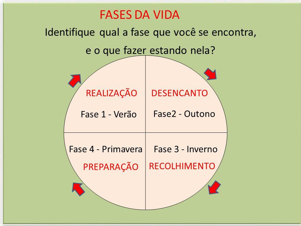 FASES DA VIDA Identifique qual a fase que você se encontra, e o que fazer estando nela? REALIZAÇÃO Fase 1 - Verão DESENCANTO Fase2 - Outono Fase 4 - P