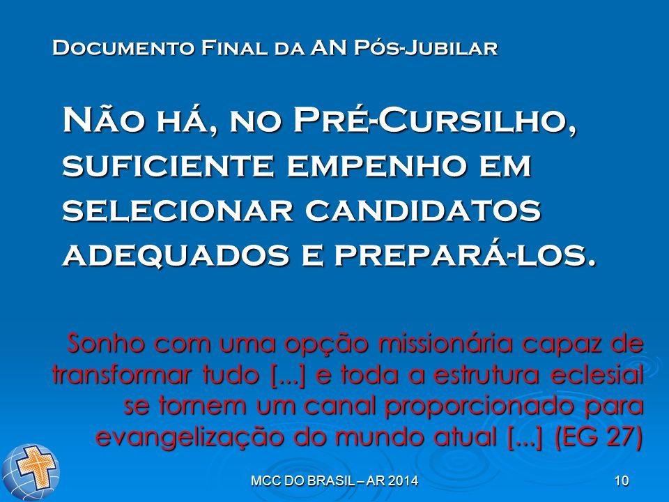 MCC DO BRASIL – AR 201410 Não há, no Pré-Cursilho, suficiente empenho em selecionar candidatos adequados e prepará-los. Documento Final da AN Pós-Jubi