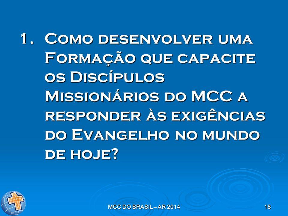 MCC DO BRASIL – AR 201418 1.Como desenvolver uma Formação que capacite os Discípulos Missionários do MCC a responder às exigências do Evangelho no mun