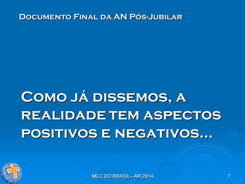 MCC DO BRASIL – AR 20147 Como já dissemos, a realidade tem aspectos positivos e negativos... Documento Final da AN Pós-Jubilar