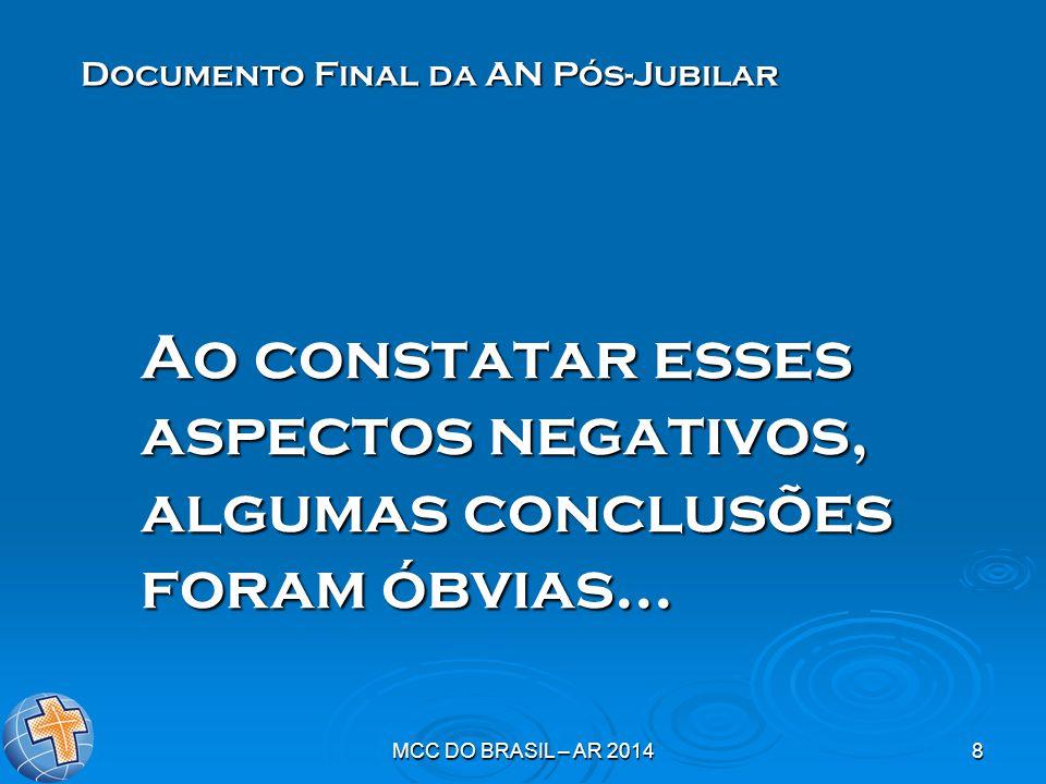 MCC DO BRASIL – AR 20148 Ao constatar esses aspectos negativos, algumas conclusões foram óbvias... Documento Final da AN Pós-Jubilar