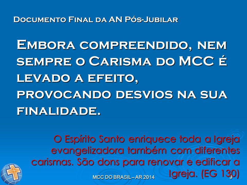 MCC DO BRASIL – AR 20149 Embora compreendido, nem sempre o Carisma do MCC é levado a efeito, provocando desvios na sua finalidade. O Espírito Santo en