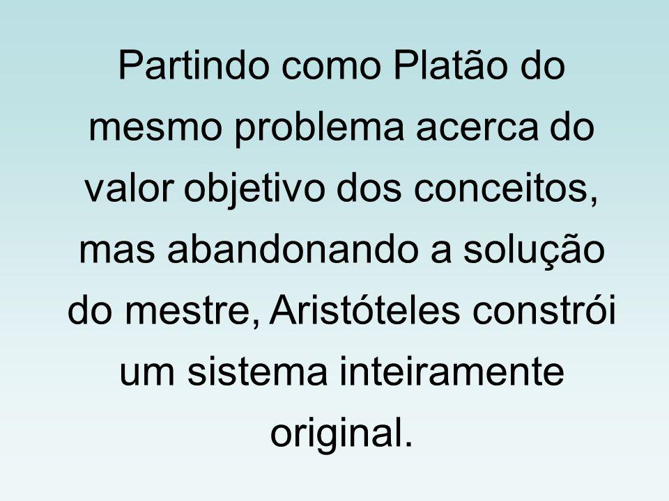 Partindo como Platão do mesmo problema acerca do valor objetivo dos conceitos, mas abandonando a solução do mestre, Aristóteles constrói um sistema inteiramente original.