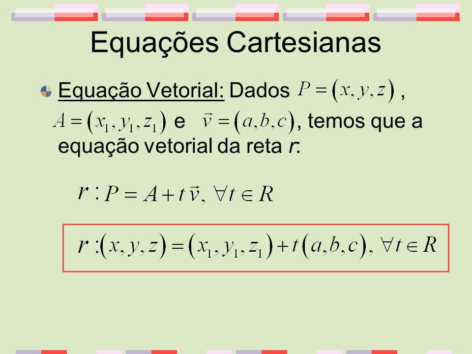 Equações Cartesianas Equação Vetorial: Dados, e, temos que a equação vetorial da reta r: