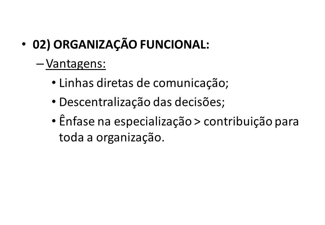 02) ORGANIZAÇÃO FUNCIONAL: – Características: Autoridade funcional ou dividida; Baseada no conhecimento, não na autoridade.