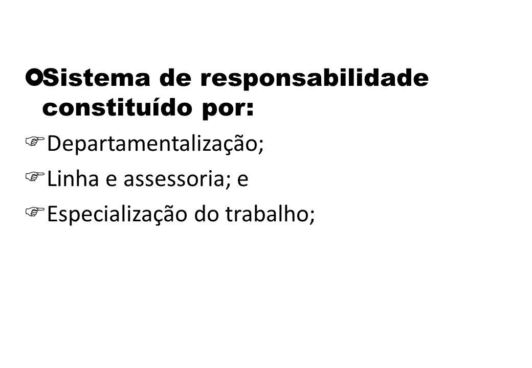  Sistema de responsabilidade constituído por:  Departamentalização;  Linha e assessoria; e  Especialização do trabalho;