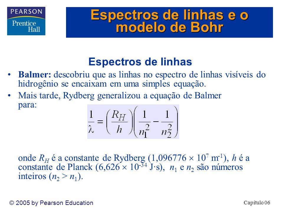 Capítulo 06 © 2005 by Pearson Education Espectros de linhas Balmer: descobriu que as linhas no espectro de linhas visíveis do hidrogênio se encaixam em uma simples equação.
