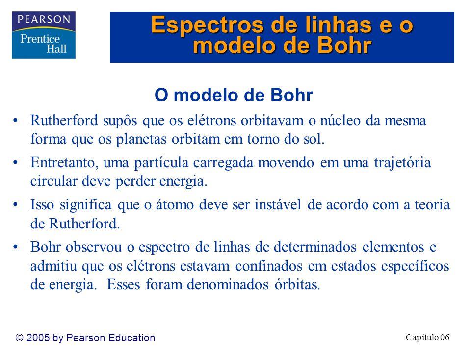 Capítulo 06 © 2005 by Pearson Education O modelo de Bohr Rutherford supôs que os elétrons orbitavam o núcleo da mesma forma que os planetas orbitam em torno do sol.