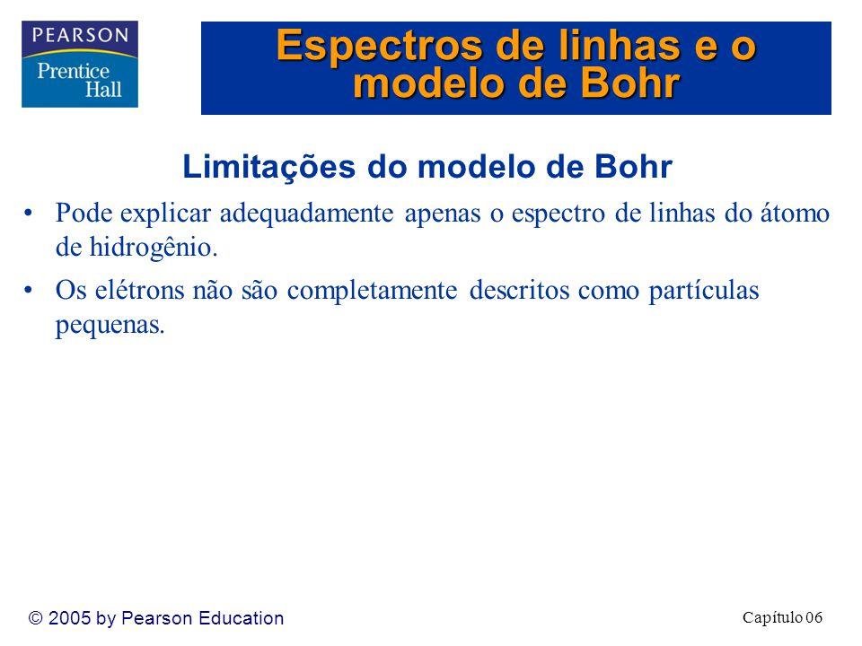 Capítulo 06 © 2005 by Pearson Education Limitações do modelo de Bohr Pode explicar adequadamente apenas o espectro de linhas do átomo de hidrogênio.