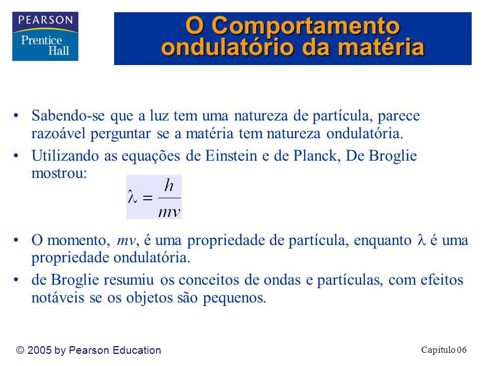 Capítulo 06 © 2005 by Pearson Education Sabendo-se que a luz tem uma natureza de partícula, parece razoável perguntar se a matéria tem natureza ondulatória.