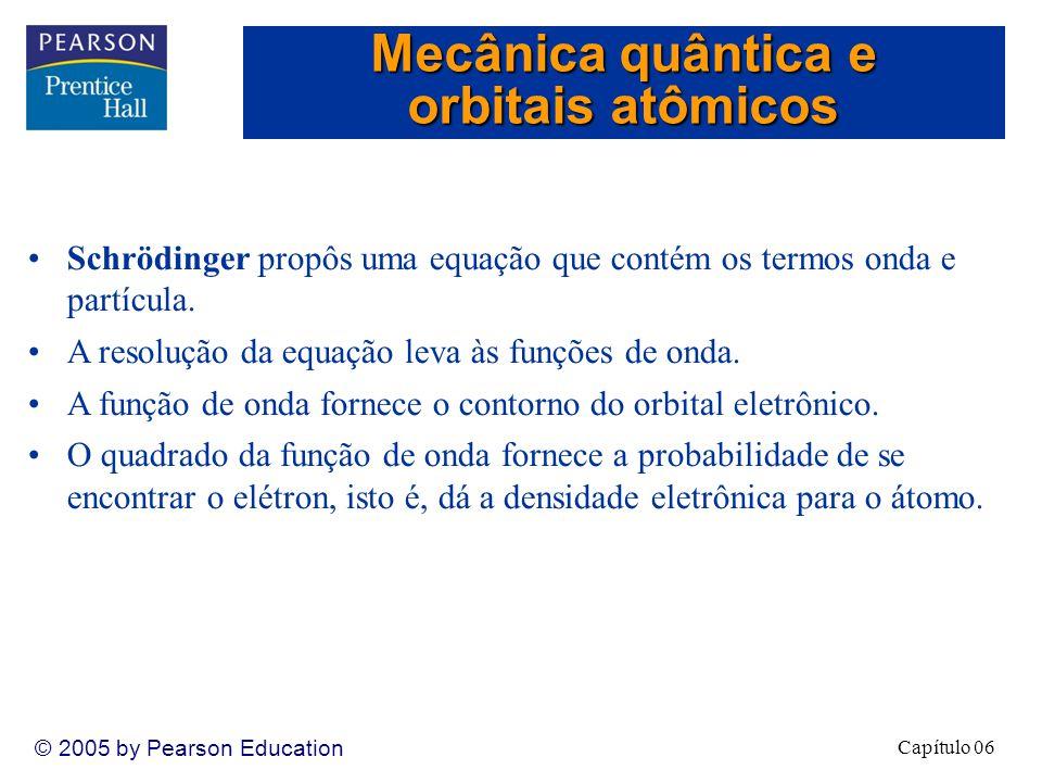 Capítulo 06 © 2005 by Pearson Education Schrödinger propôs uma equação que contém os termos onda e partícula.