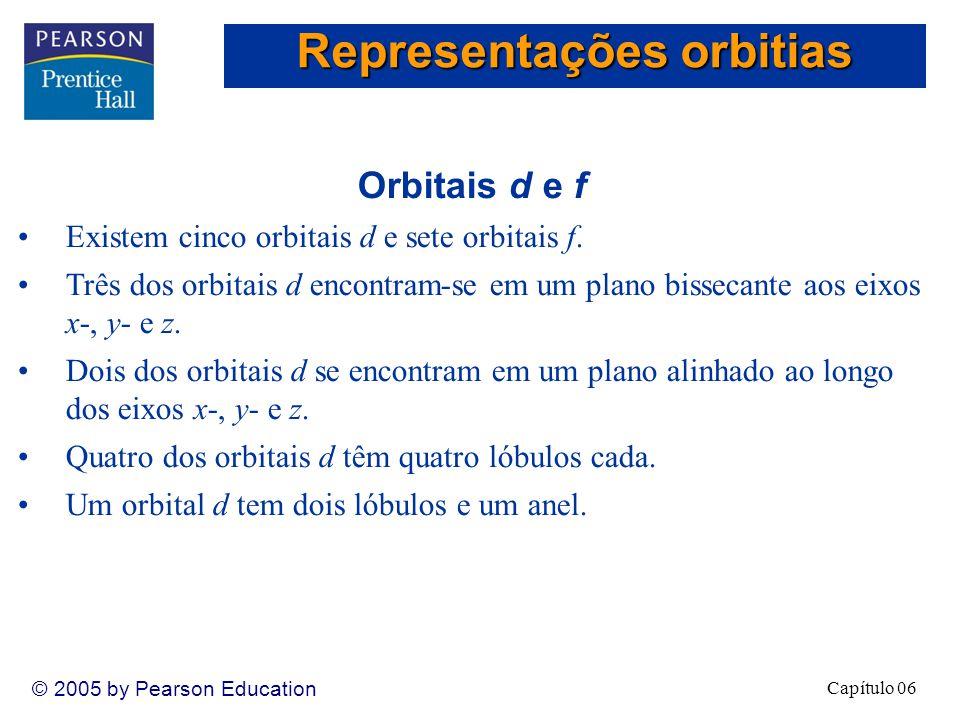 Capítulo 06 © 2005 by Pearson Education Orbitais d e f Existem cinco orbitais d e sete orbitais f.