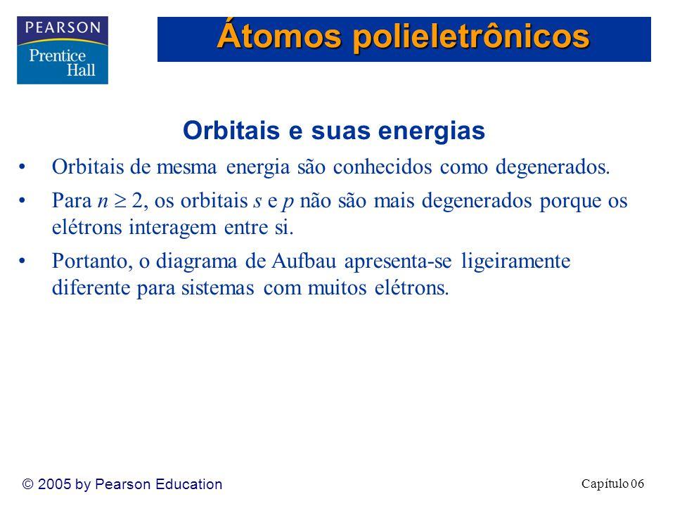 Capítulo 06 © 2005 by Pearson Education Orbitais e suas energias Orbitais de mesma energia são conhecidos como degenerados.