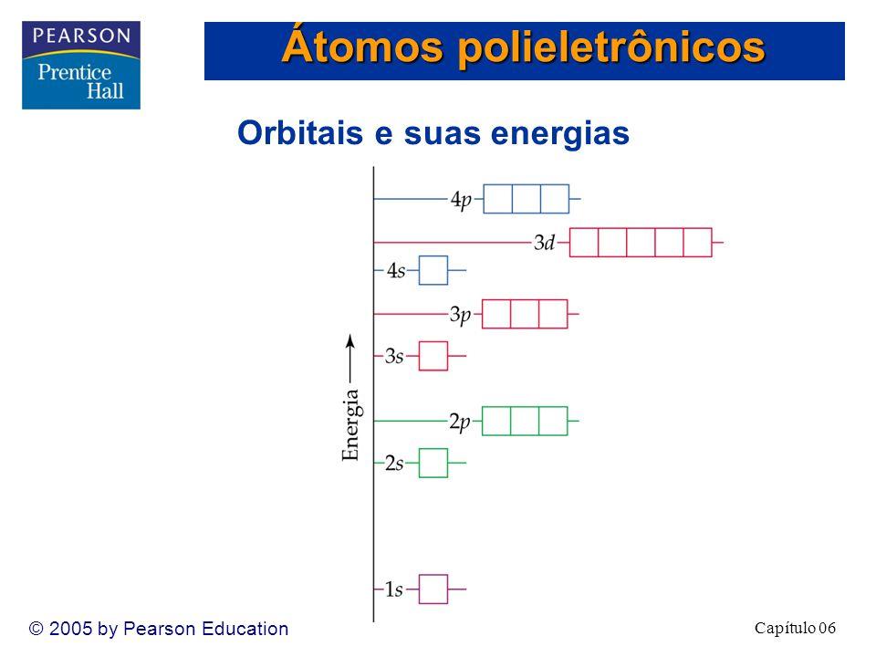 Capítulo 06 © 2005 by Pearson Education Orbitais e suas energias Átomos polieletrônicos