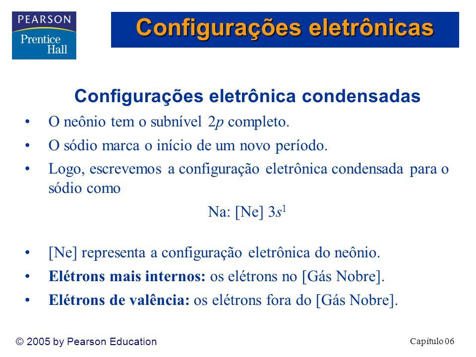 Capítulo 06 © 2005 by Pearson Education Configurações eletrônica condensadas O neônio tem o subnível 2p completo.