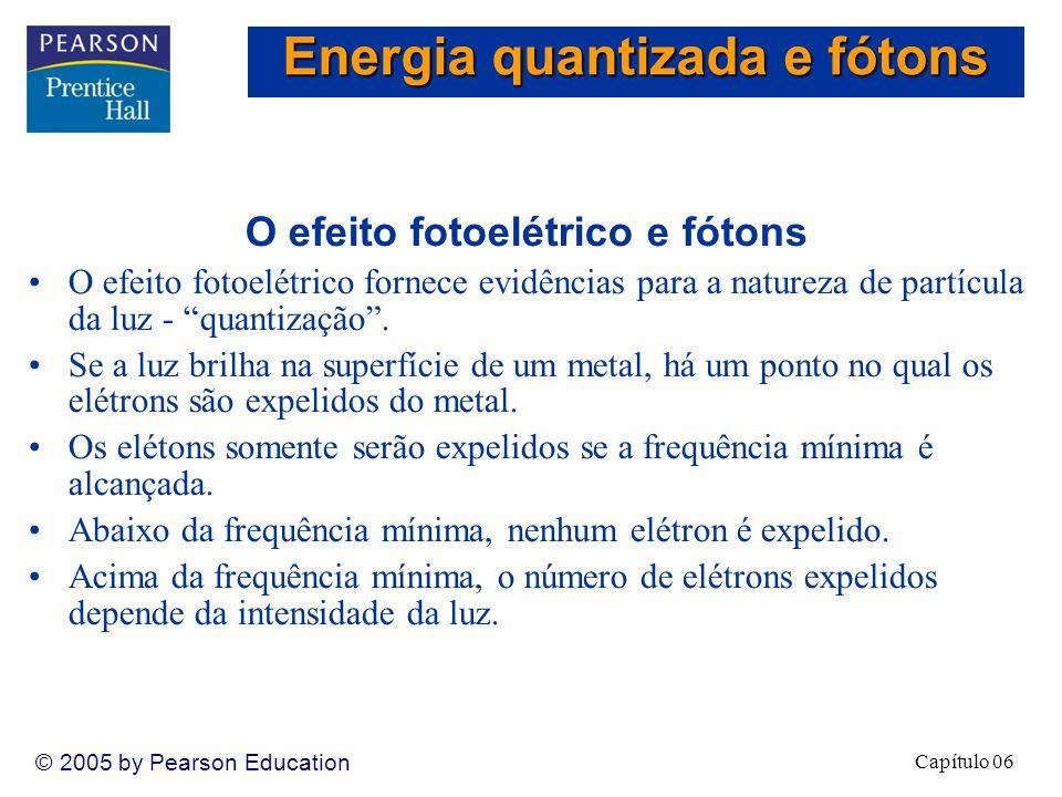 Capítulo 06 © 2005 by Pearson Education O efeito fotoelétrico e os fótons Einstein supôs que a luz trafega em pacotes de energia denominados fótons.