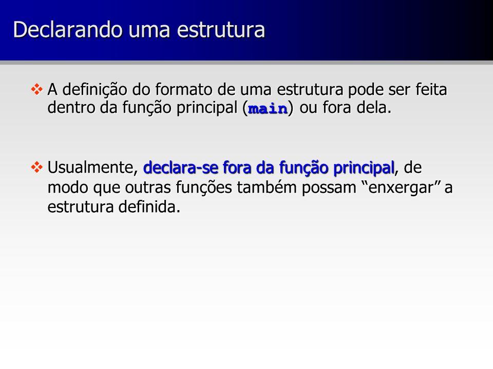  A definição do formato de uma estrutura pode ser feita dentro da função principal ( main ) ou fora dela.