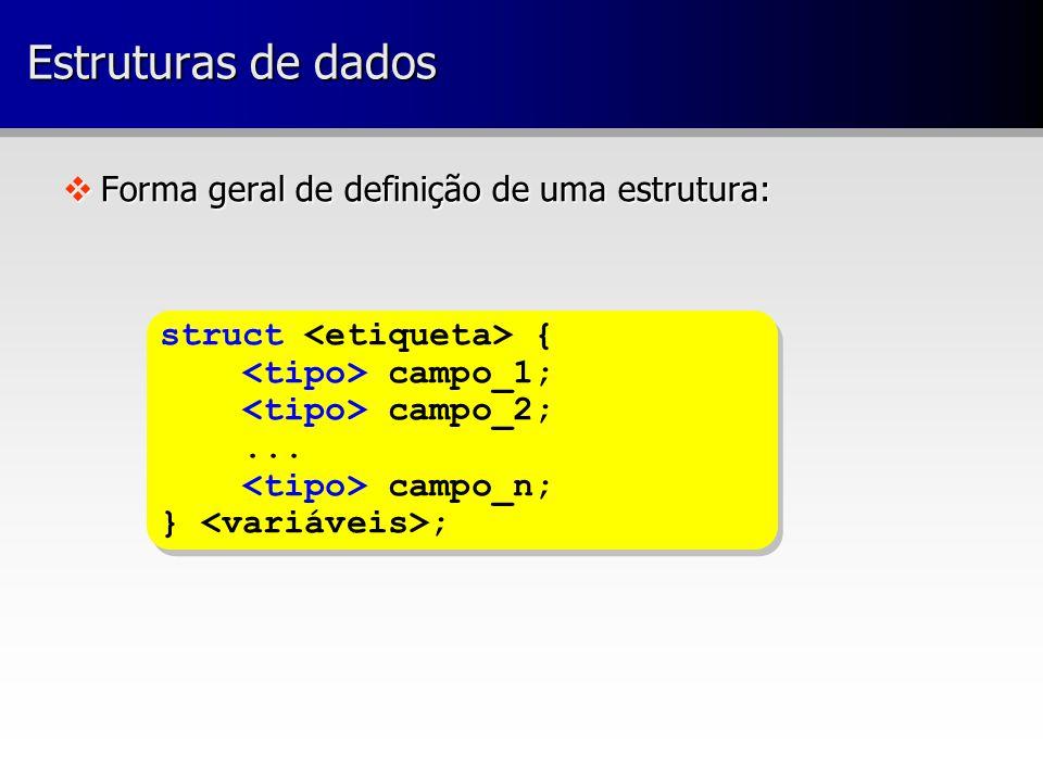 vForma geral de definição de uma estrutura: struct { campo_1; campo_2;...