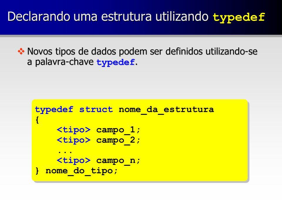 vExemplo: Declarando uma estrutura utilizando typedef typedef struct data { int dia; int mes; int ano; } tipoData; typedef struct data { int dia; int mes; int ano; } tipoData;