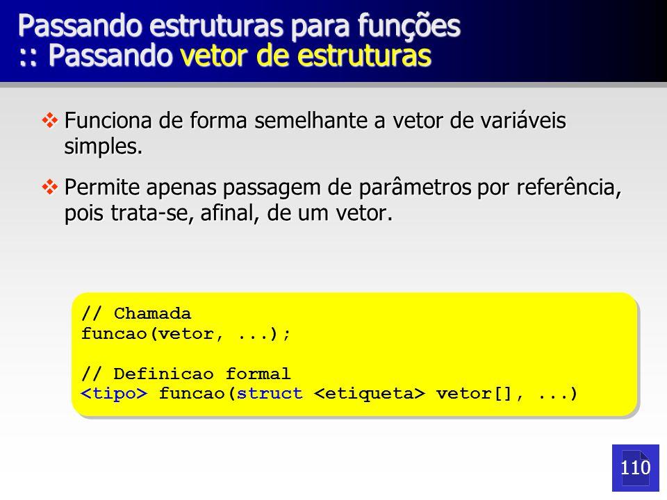 Passando estruturas para funções :: Passando vetor de estruturas vFunciona de forma semelhante a vetor de variáveis simples.