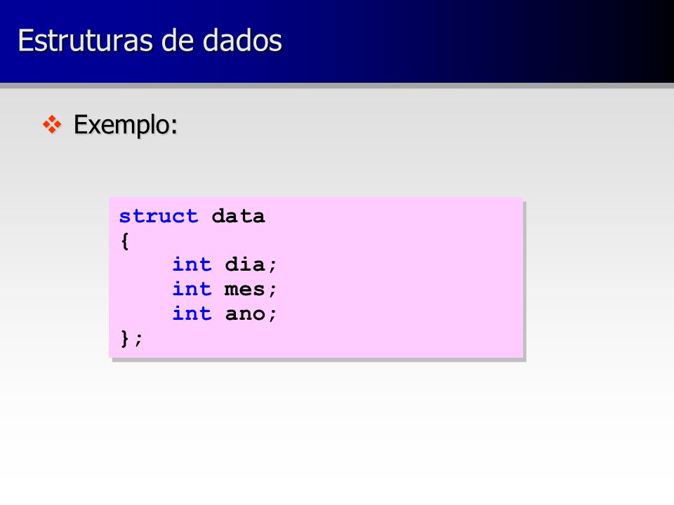 v Exemplo: struct data { int dia; int mes; int ano; }; struct data { int dia; int mes; int ano; }; Estruturas de dados