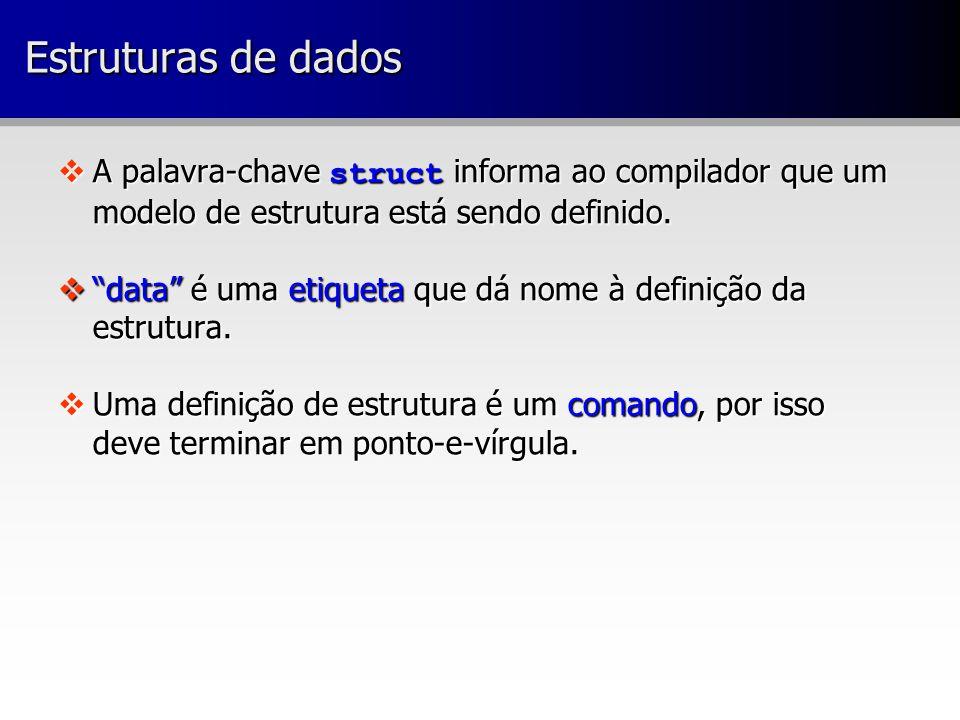  A palavra-chave struct informa ao compilador que um modelo de estrutura está sendo definido.
