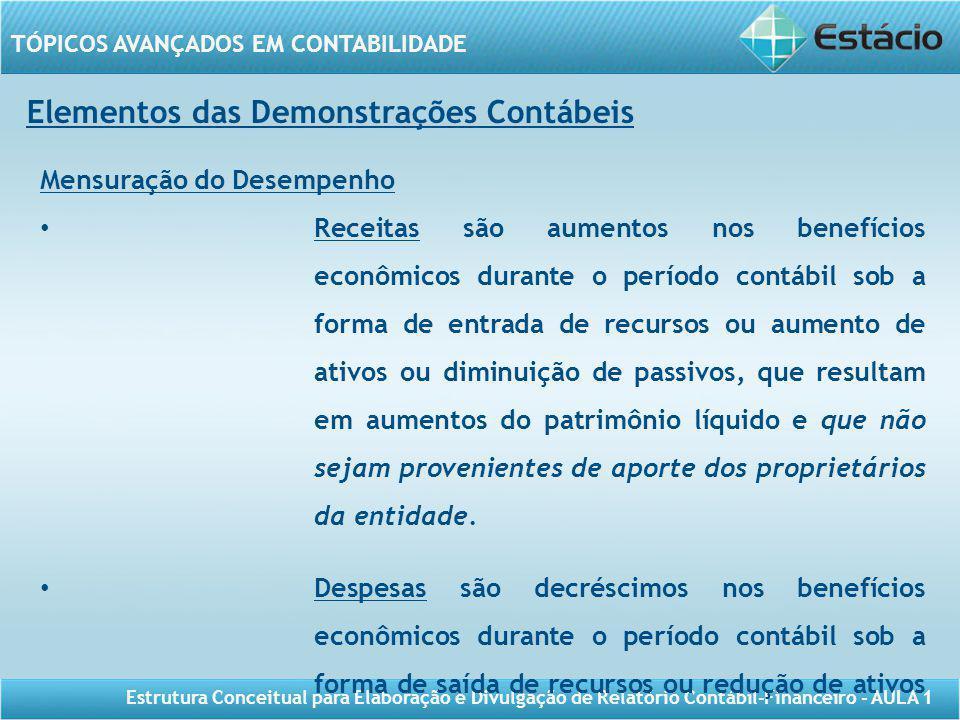 TÓPICOS AVANÇADOS EM CONTABILIDADE Estrutura Conceitual para Elaboração e Divulgação de Relatório Contábil-Financeiro - AULA 1 Elementos das Demonstra