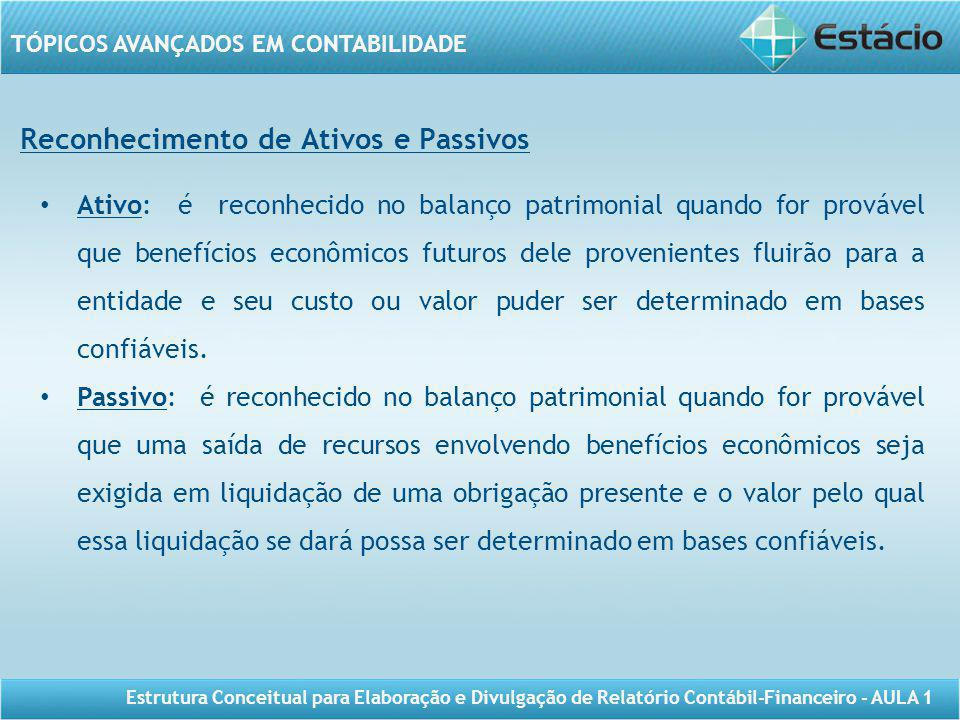 TÓPICOS AVANÇADOS EM CONTABILIDADE Estrutura Conceitual para Elaboração e Divulgação de Relatório Contábil-Financeiro - AULA 1 Reconhecimento de Ativo