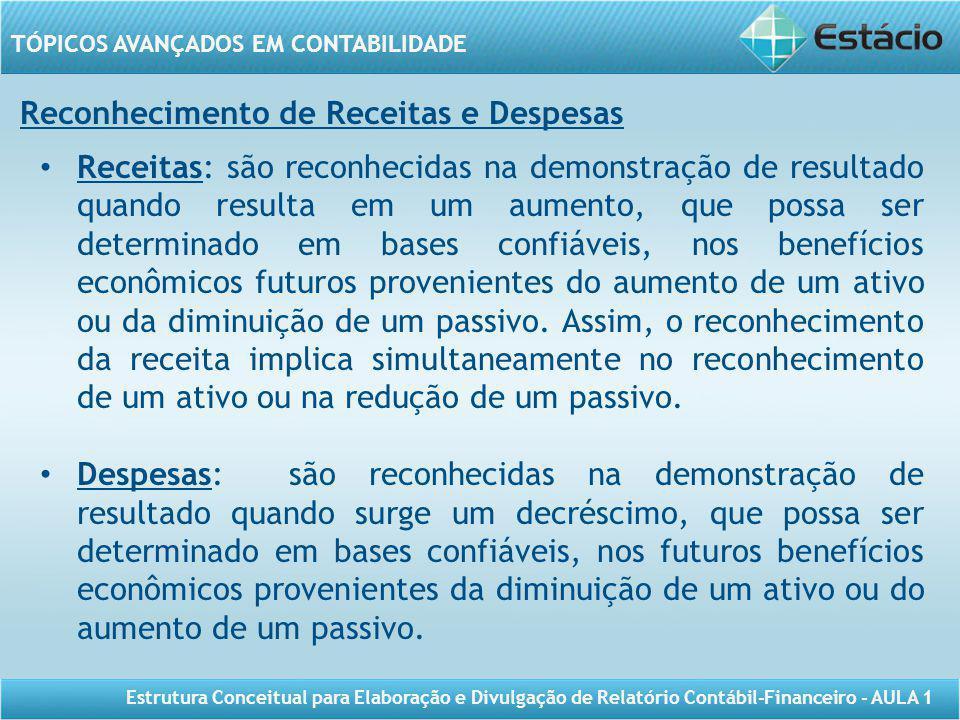 TÓPICOS AVANÇADOS EM CONTABILIDADE Estrutura Conceitual para Elaboração e Divulgação de Relatório Contábil-Financeiro - AULA 1 Reconhecimento de Recei