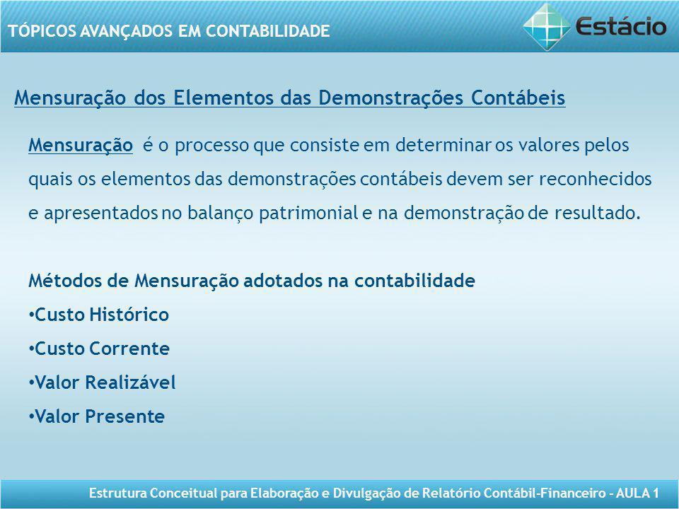 TÓPICOS AVANÇADOS EM CONTABILIDADE Estrutura Conceitual para Elaboração e Divulgação de Relatório Contábil-Financeiro - AULA 1 Mensuração dos Elemento