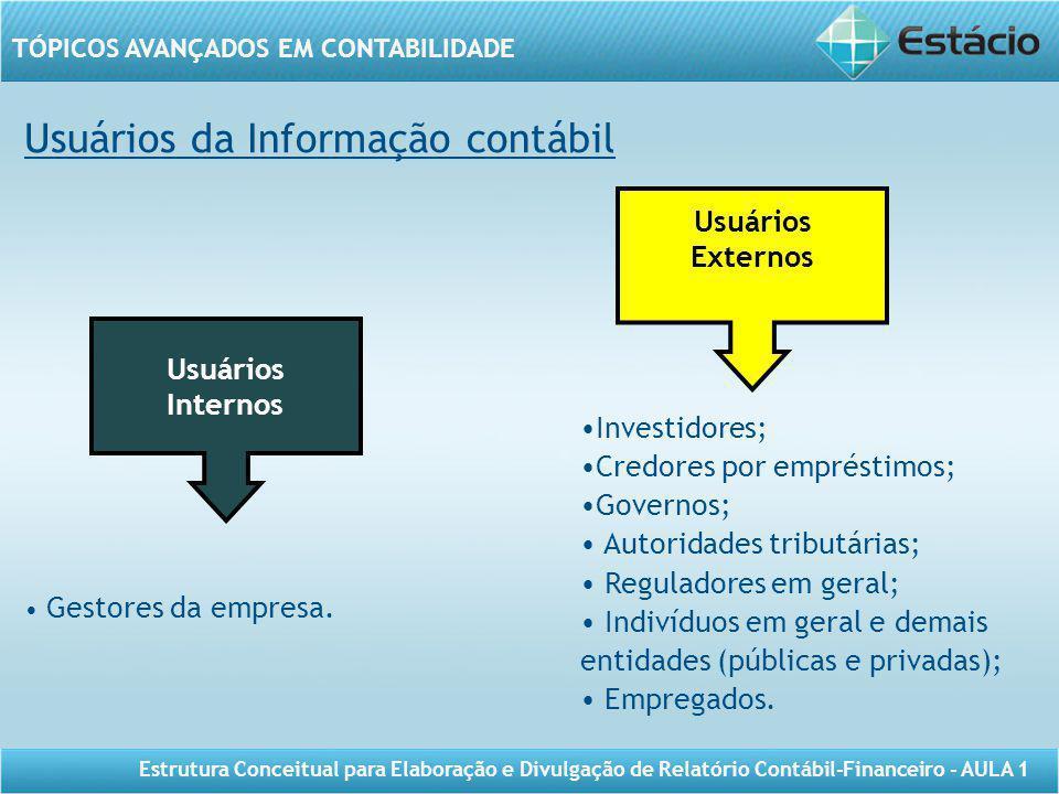 TÓPICOS AVANÇADOS EM CONTABILIDADE Estrutura Conceitual para Elaboração e Divulgação de Relatório Contábil-Financeiro - AULA 1 Usuários da Informação