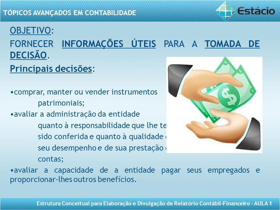TÓPICOS AVANÇADOS EM CONTABILIDADE Estrutura Conceitual para Elaboração e Divulgação de Relatório Contábil-Financeiro - AULA 1 OBJETIVO: FORNECER INFO