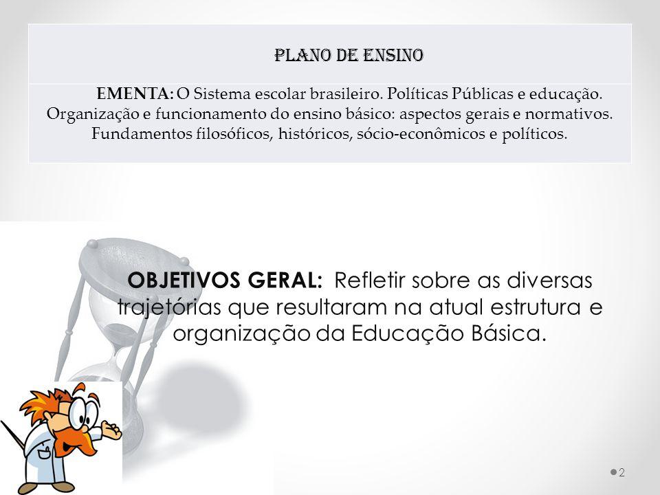 Plano de Ensino EMENTA: O Sistema escolar brasileiro.