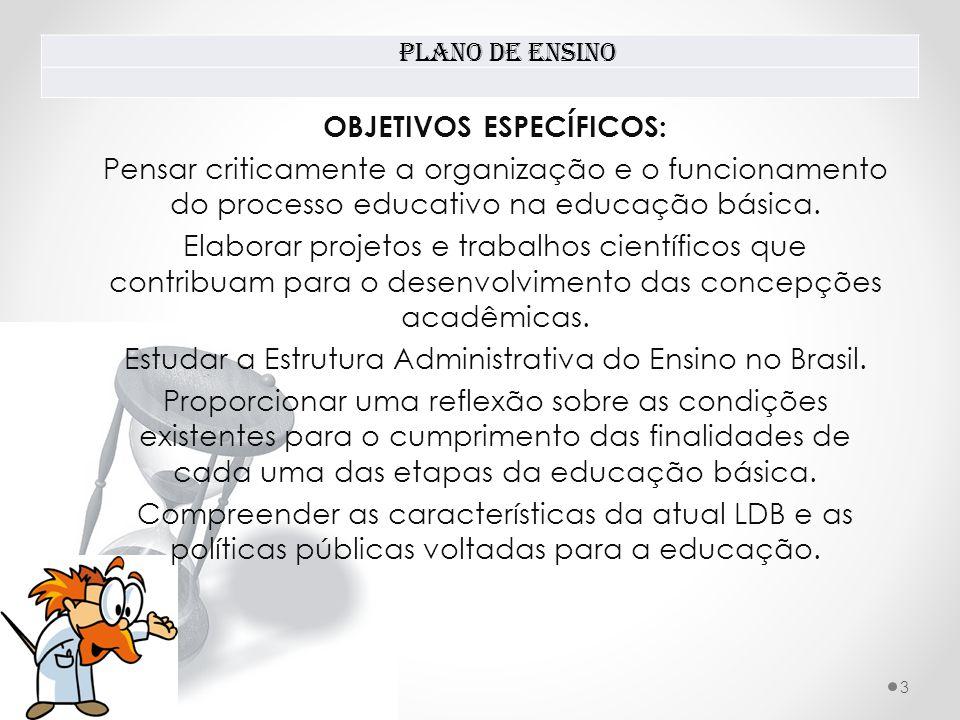 Plano de Ensino 3 OBJETIVOS ESPECÍFICOS: Pensar criticamente a organização e o funcionamento do processo educativo na educação básica.