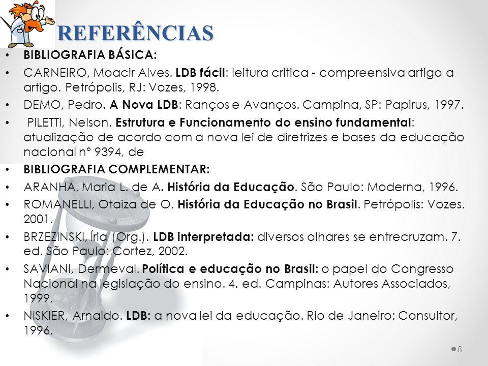 REFERÊNCIAS BIBLIOGRAFIA BÁSICA: CARNEIRO, Moacir Alves.