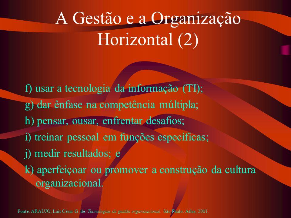 A Gestão e a Organização Horizontal (2) f) usar a tecnologia da informação (TI); g) dar ênfase na competência múltipla; h) pensar, ousar, enfrentar desafios; i) treinar pessoal em funções específicas; j) medir resultados; e k) aperfeiçoar ou promover a construção da cultura organizacional.