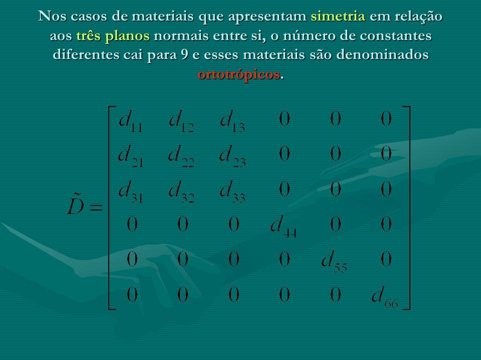 Nos casos de materiais isotrópicos a matriz abaixo se simplifica nos parâmetros módulo de elasticidade E e coeficiente de Poisson.