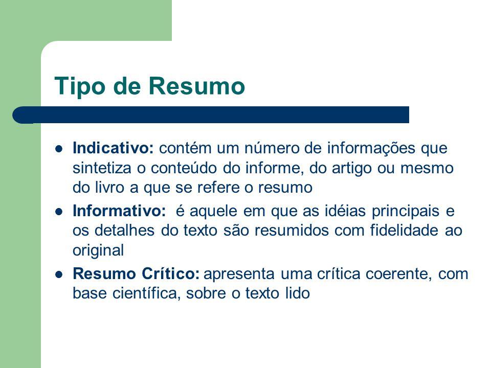 Tipo de Resumo Indicativo: contém um número de informações que sintetiza o conteúdo do informe, do artigo ou mesmo do livro a que se refere o resumo I
