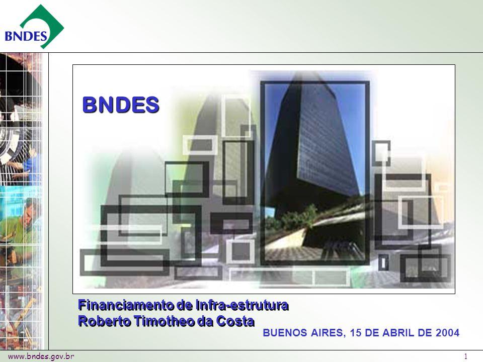 www.bndes.gov.br 1 BUENOS AIRES, 15 DE ABRIL DE 2004 BNDES Financiamento de Infra-estrutura Roberto Timotheo da Costa Financiamento de Infra-estrutura Roberto Timotheo da Costa