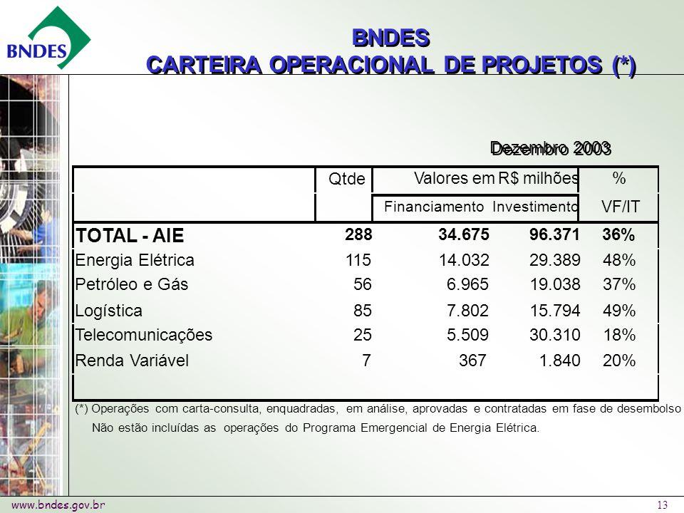 www.bndes.gov.br 13 BNDES CARTEIRA OPERACIONAL DE PROJETOS (*) BNDES CARTEIRA OPERACIONAL DE PROJETOS (*) Dezembro 2003