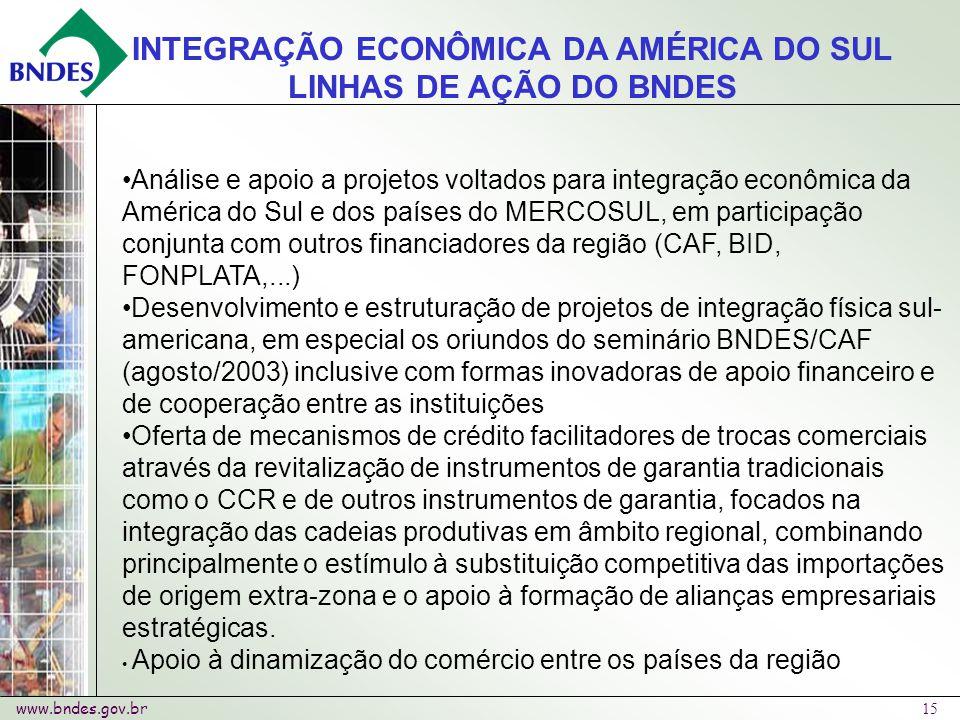 www.bndes.gov.br 15 Análise e apoio a projetos voltados para integração econômica da América do Sul e dos países do MERCOSUL, em participação conjunta com outros financiadores da região (CAF, BID, FONPLATA,...) Desenvolvimento e estruturação de projetos de integração física sul- americana, em especial os oriundos do seminário BNDES/CAF (agosto/2003) inclusive com formas inovadoras de apoio financeiro e de cooperação entre as instituições Oferta de mecanismos de crédito facilitadores de trocas comerciais através da revitalização de instrumentos de garantia tradicionais como o CCR e de outros instrumentos de garantia, focados na integração das cadeias produtivas em âmbito regional, combinando principalmente o estímulo à substituição competitiva das importações de origem extra-zona e o apoio à formação de alianças empresariais estratégicas.